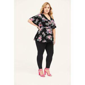 Torrid Top 4X Black Pink Floral Jersey Knit Peplum